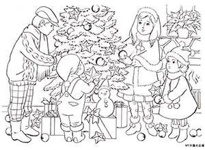 クリスマス飾り付け風景の塗り絵