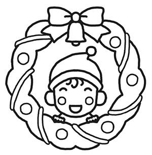 クリスマスリースの塗り絵