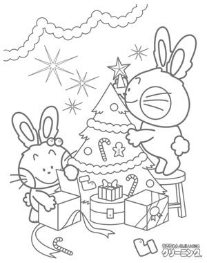 うさぎのクリスマスの塗り絵