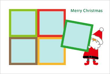 プリントわんパグのクリスマスカードデザイン1
