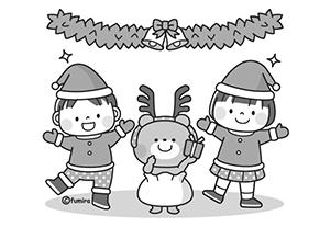 かわいい白黒クリスマスイラスト1