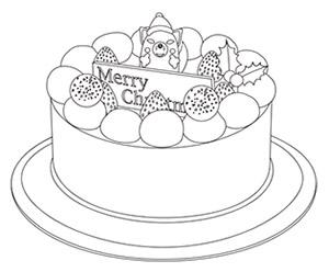 クリスマスケーキの塗り絵