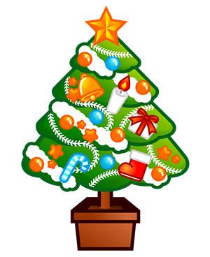 素材プチッチのクリスマスツリーイラスト