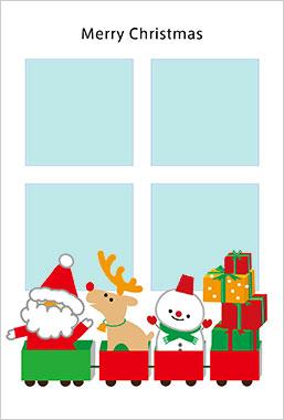 プリントわんパグのクリスマスカードデザイン2