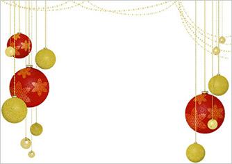金と赤のオーナメントクリスマス素材