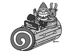 かわいい白黒クリスマスイラスト3