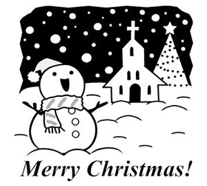 クリスマス素材 白黒イラスト1
