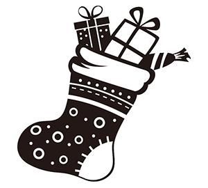 クリスマス素材 白黒イラスト2