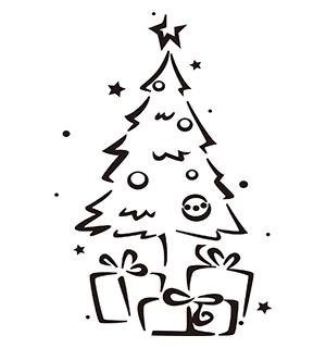 クリスマス素材 白黒イラスト3